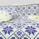 Povlečení bavlněné Etno krémovo-modré EMI
