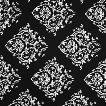 Látka metráž bavlna 100% Don ornament černá CNM