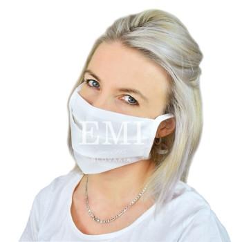 Ochranná rouška dvouvrstvá textilní bílá se šňůrkami EMI