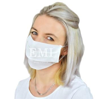 Ochranná rouška dvouvrstvá textilní bílá s gumičkou EMI