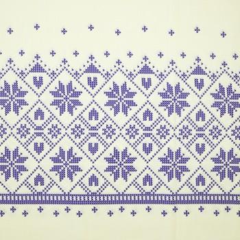 Látka metráž 100% bavlna delux Etno krémovo-modrá