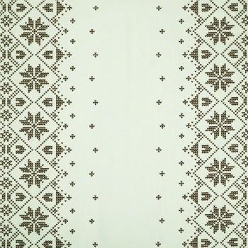 Látka metráž 100% bavlna delux Etno krémovo-hnědá