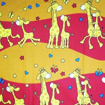 Látka metráž bavlna 100% Don Žirafky červená CNM