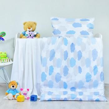 Povlečení dětské bavlněné Obláčky modré EMI