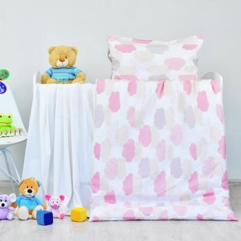 Povlečení dětské bavlněné Obláčky růžové EMI