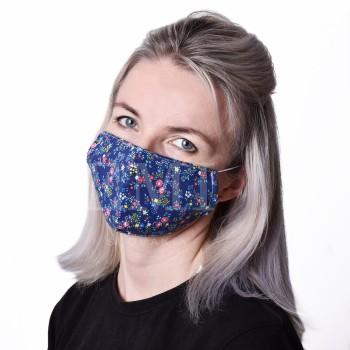 Ochranná rouška dvouvrstvá textilní Kvítek s gumičkou EMI