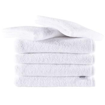 Sada ručníky a osušky bavlněné bílé 4 ks 50 x 100 cm + 2 ks 70 x 140 cm EMI