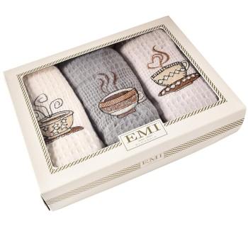 Utěrky vaflové na nádobí coffee set 3 ks EMI