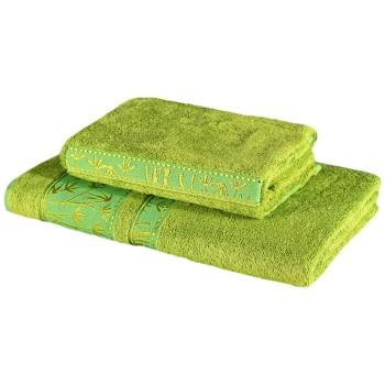 Sada 2 kusů zelené bambusové osušky a ručníku EMI