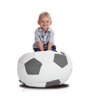 Sedací vak fotbalový míč malý bílo-šedý EMI