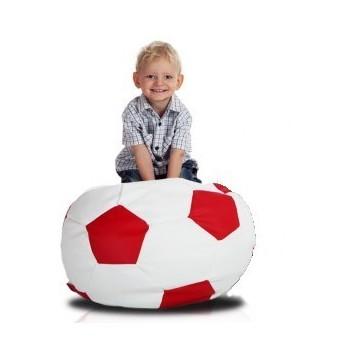 Sedací vak fotbalový míč malý bílo-červený EMI