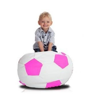 Sedací vak fotbalový míč malý bílo-růžový EMI