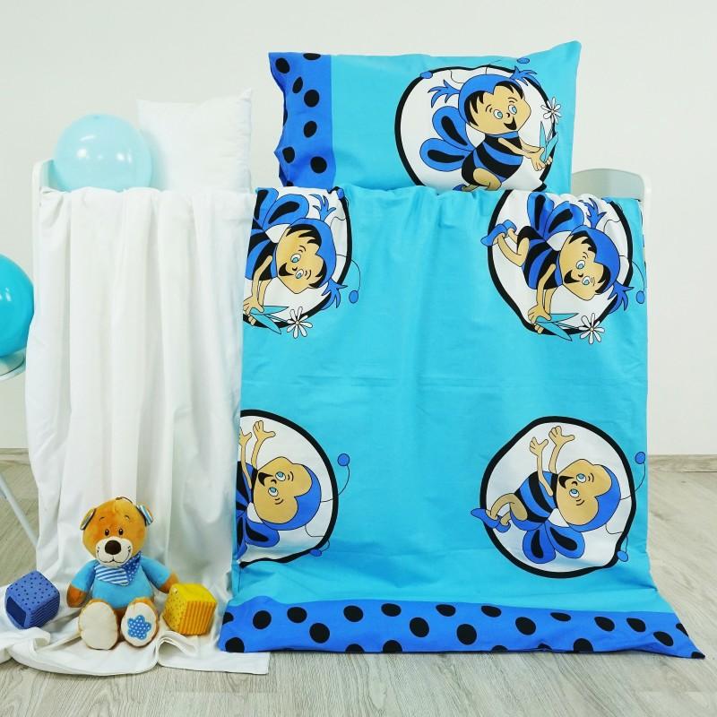 Povlečení dětské bavlněné včelky modré EMI