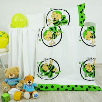 Povlečení dětské bavlněné včelky zelené EMI